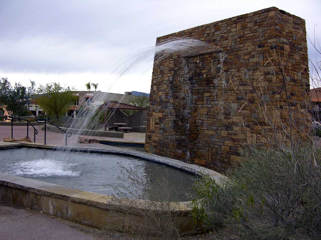 A fountain near a playground in Carefree, AZ