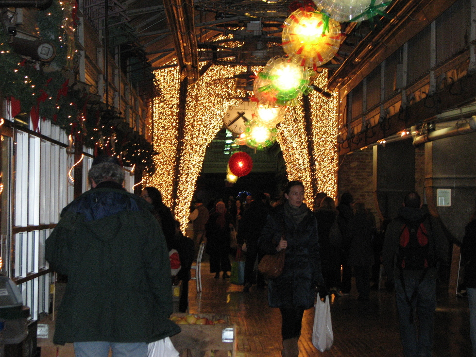 New York Holiday decorations in Chelsea Market