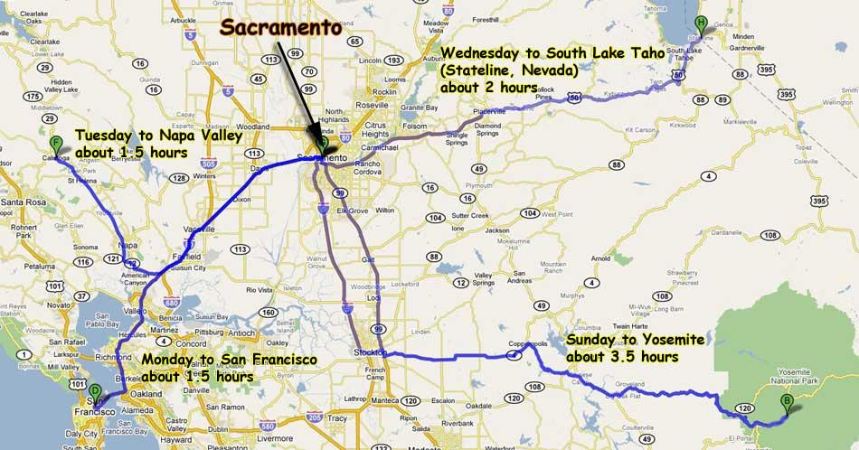 google map of basic itinerary