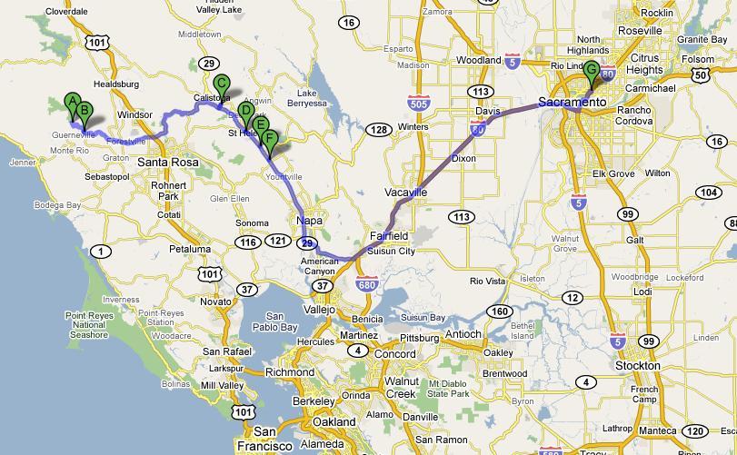 Map Sacramento to Napa